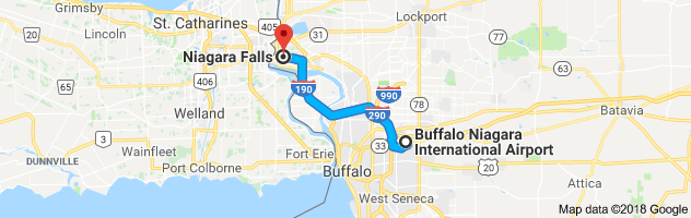 A 45-minute drive from Buffalo Airport to Niagara Falls