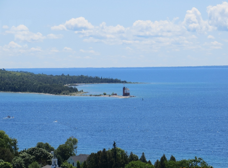 Lighthouse overlooks the Straits on Mackinac Island