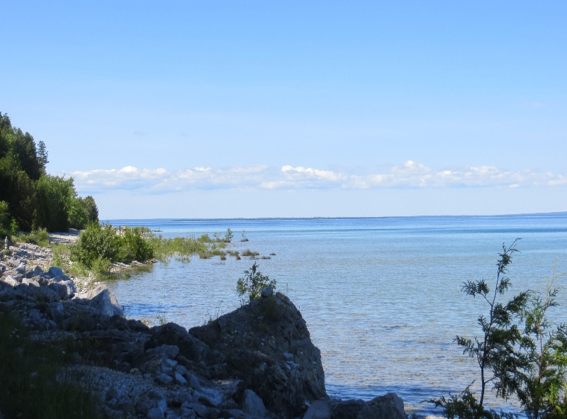 Bike paths line the shoreline of Mackinac Island