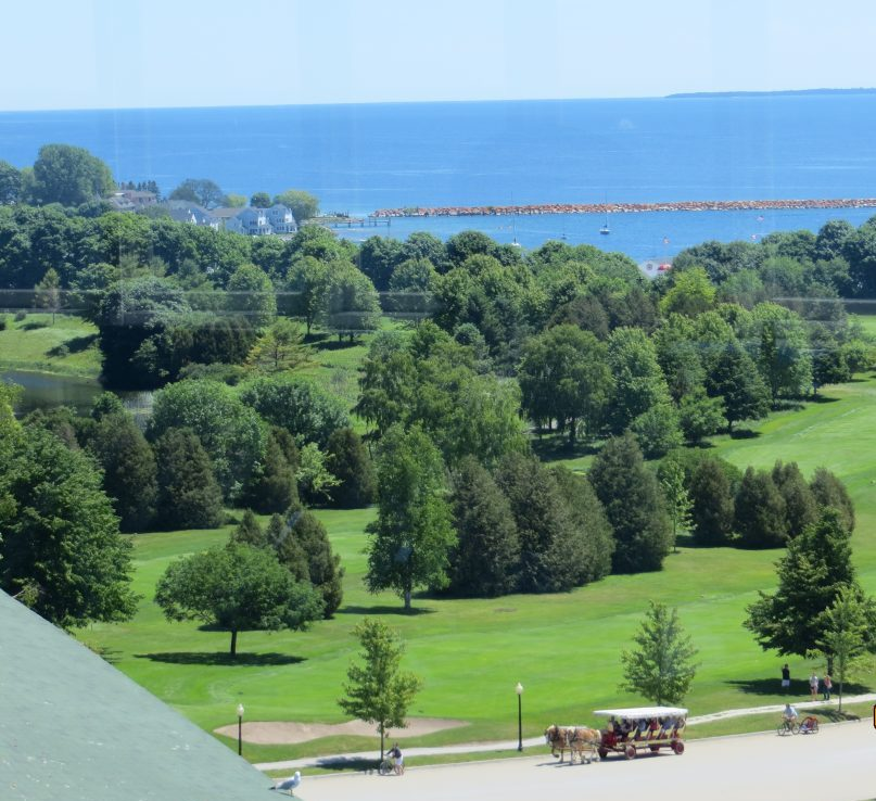 Overlook from the top of the Grand Hotel on Mackinac Island