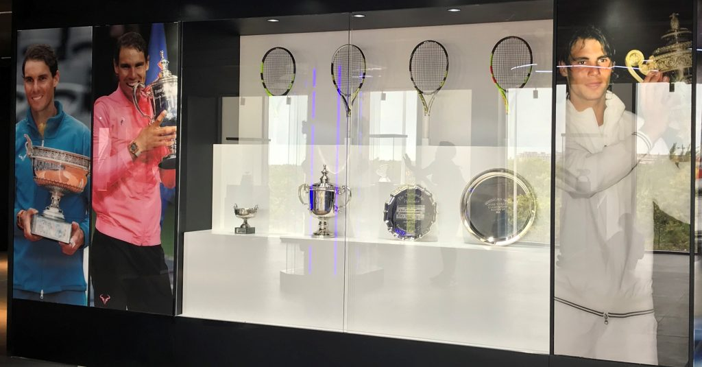 Rafa Nadal's many trophies are displayed in the museum