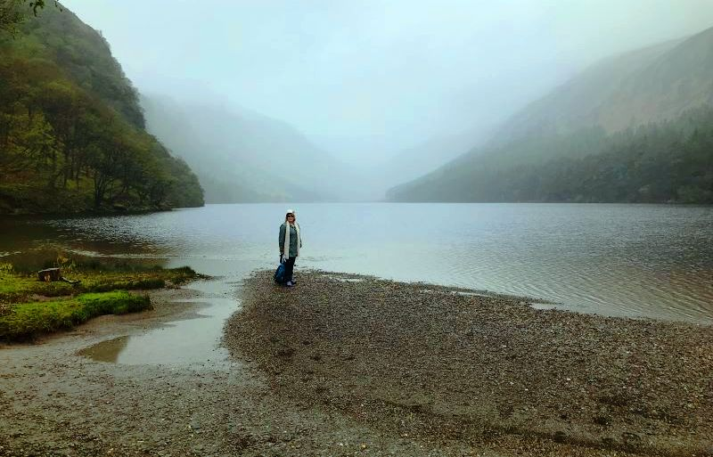 Mist hanging over one of two lakes at Glendalough