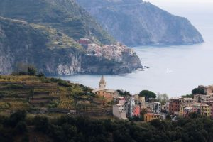 Our view from the hiking trails above the villages of Corniglia and Manarola, Cinque Terre.