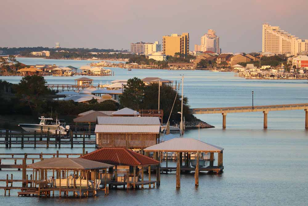 Piers on Ono Island and Condominiums along Orange Beach, Alabama's Gulf Coast