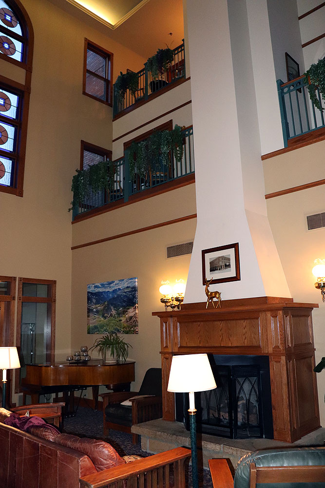 The living area with three-story fireplace at The Pollard Hotel.