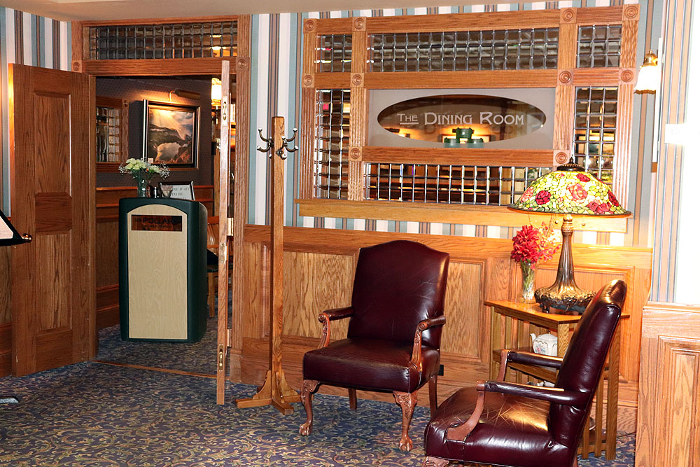 A sitting area in the lobby of The Pollard Hotel for relaxation.