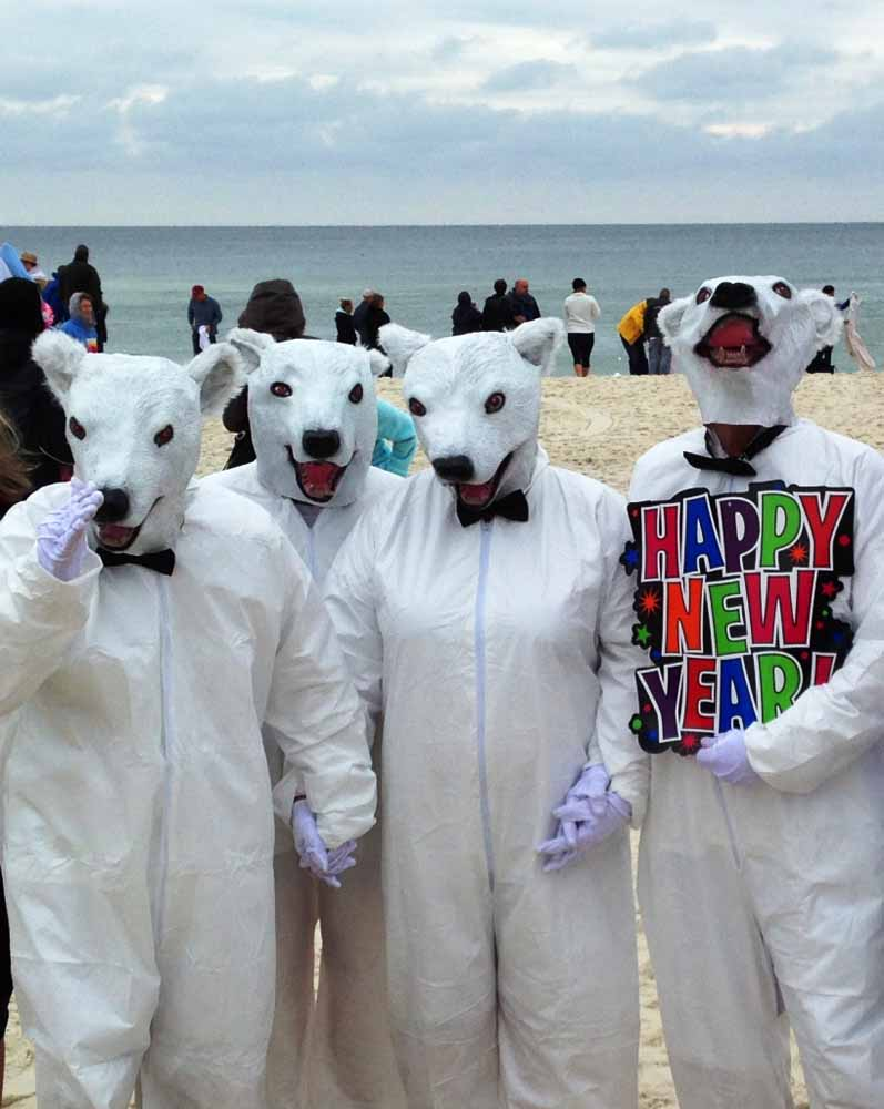 The  New Year's Day Polar Bear Plunge in Alabama's Orange Beach at the Flora-Bama