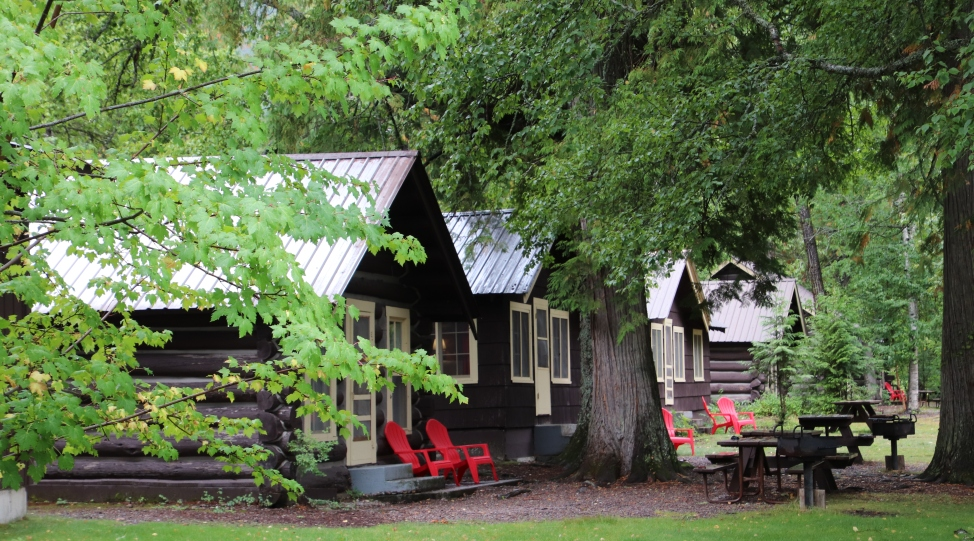 The log cabins of Apgar Village Lodge