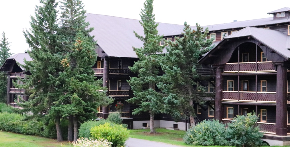 Lake McDonald Lodge with huge trees as beams