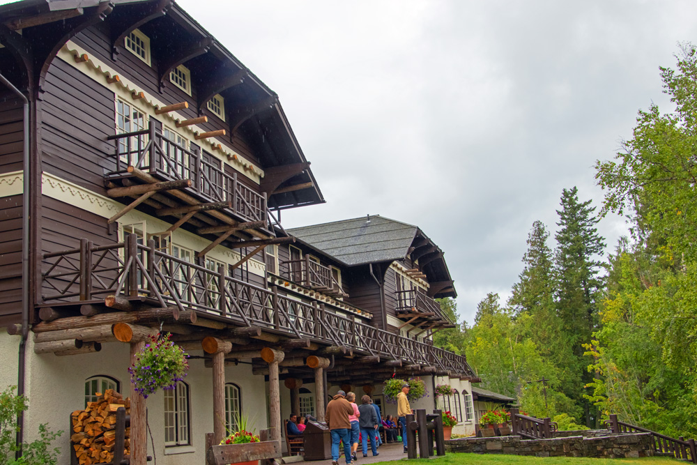 Lake McDonald Lodge in Glacier National Park shows exposed log beams