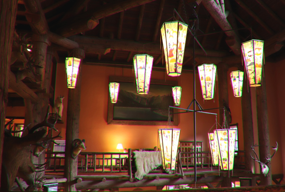 Exposed beams in the high ceiling of Lake McDonald Lodge
