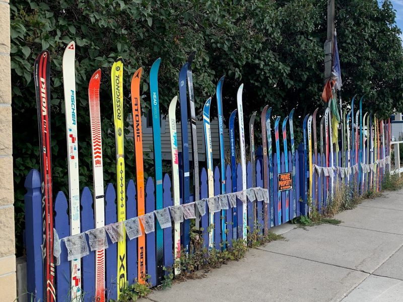 Artistic resident putting skis to good use in town