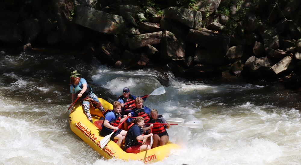 Rafting with a whitewater guide provides plenty of thrills at the Nantahala Outdoor Center