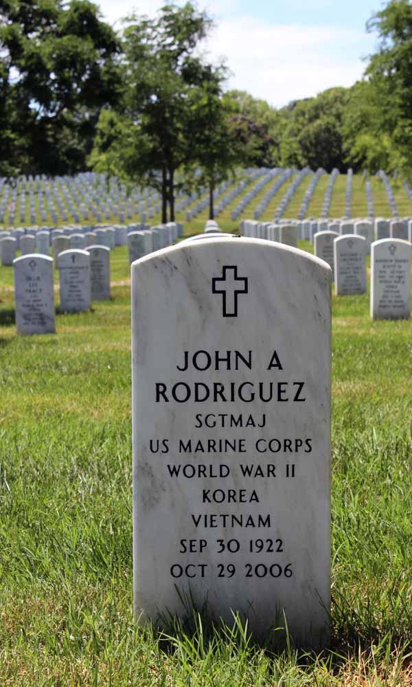 The headstone of Sgt. Major John A. Rodriguez, USMC, Retired