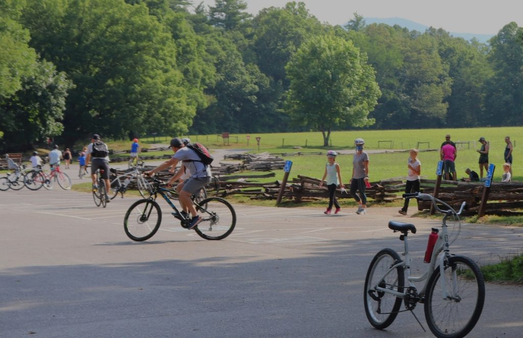 Bicyclists in Cades Cove, Smoky Mountains, are of all ages and experience levels