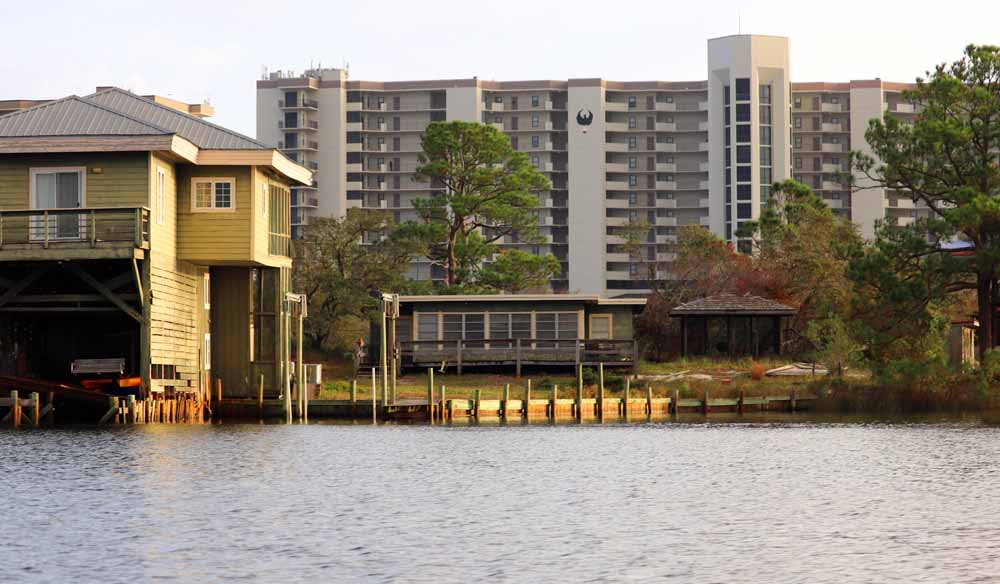 Small cabins cohabitate with condominiums in Orange Beach