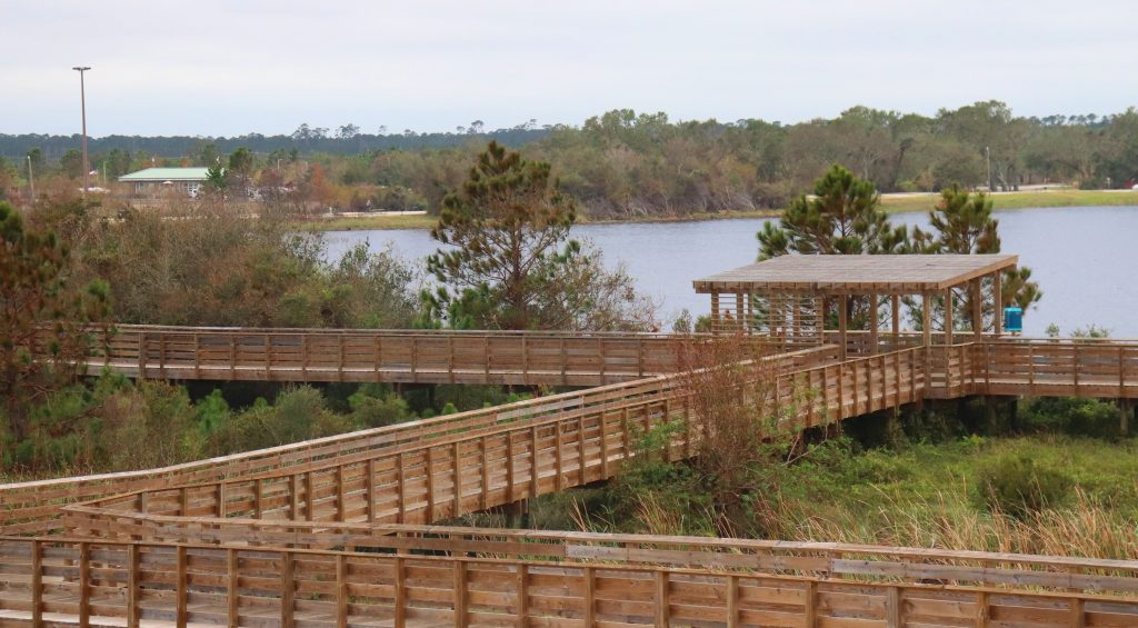 Boardwalks leading to the backcountry trails